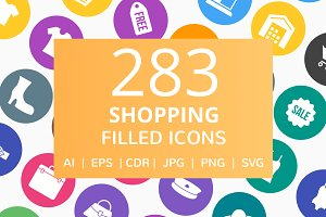 283 Shopping Filled Round Icons