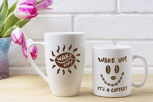 White coffee and cappuccino mug mock