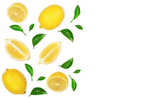 lemon and slice decorated with green leaves isolated on white background. Flat lay, top view