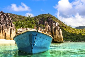 Old fishing boat on Tropical beach