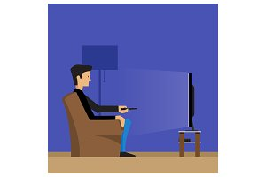 Man near TV set on armchair / sofa