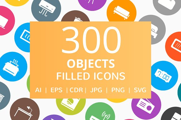 300 Objects Filled Round Icons