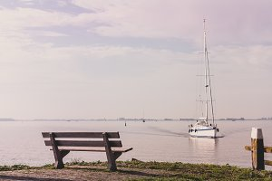 Scenic sea view with bench and