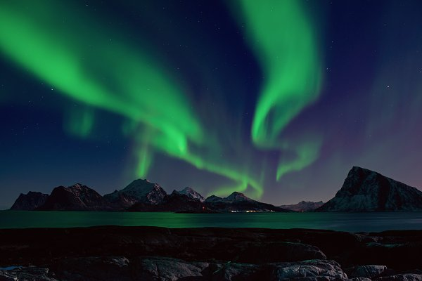 Nature Stock Photos: Nature and travel - Northern Lights in Norway