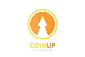 Vector coin and arrow up logo