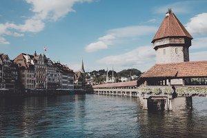 Chapel Bridge in Lucerne, Swiss