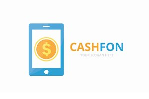 Vector coin and phone logo combination. Money and mobile symbol or icon. Unique cash and device logotype design template.