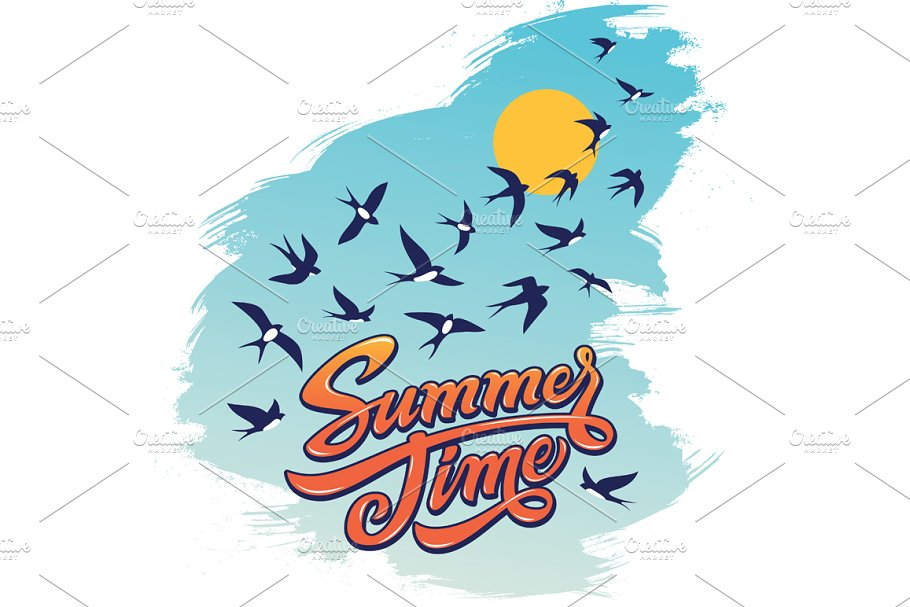 Summertime Lettering Illustration in Illustrations - product preview 8