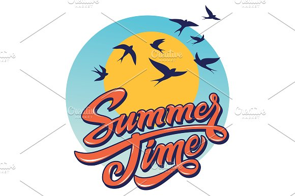 Summertime Lettering Illustration in Illustrations - product preview 1