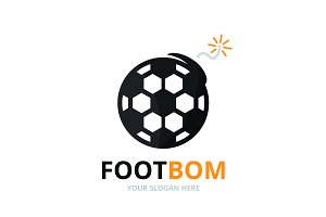Vector soccer and bomb logo