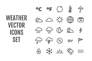25 vector line weather icons