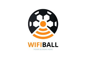 Vector soccer and wifi logo