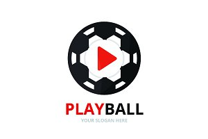 Vector button play and soccer logo