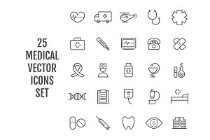 25 vector line medical icons