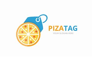 Vector pizza and tag logo