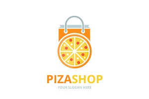 Vector pizza and shop logo
