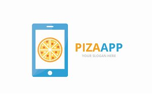 Vector pizza and phone logo