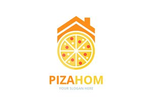 Vector pizza and real estate logo