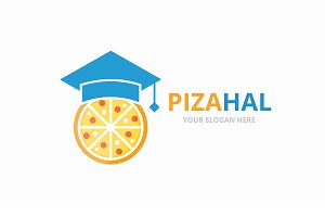 Vector graduate hat and pizza logo