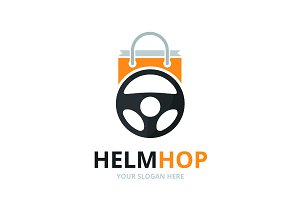 Vector car helm and shop logo