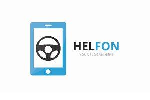 Vector car helm and phone logo