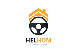 Vector car helm and real estate logo