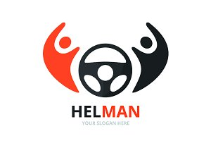 Vector car helm and people logo