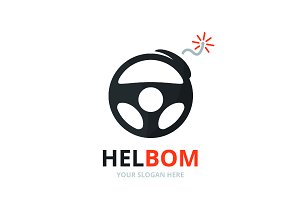 Vector car helm and bomb logo