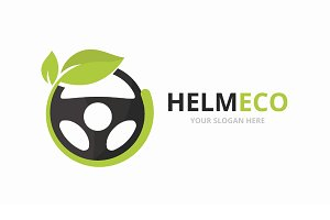 Vector car helm and leaf logo