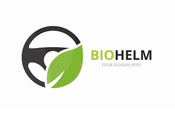 Vector car helm and leaf logo