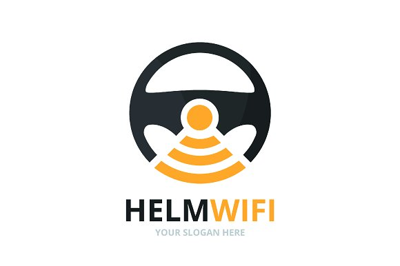 Vector car helm and wifi logo
