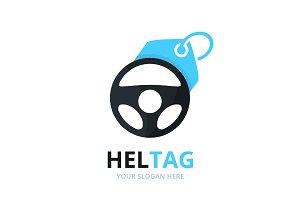 Vector car helm and tag logo