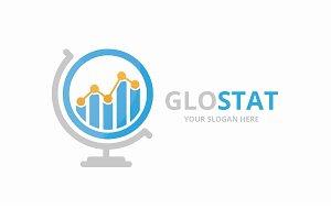 Vector graph and globe logo