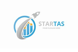Vector graph and rocket logo