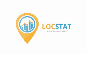 Vector graph and map pointer logo