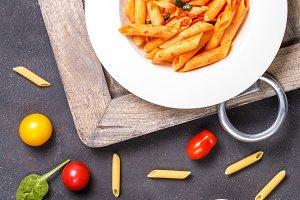 Gluten free pasta with ingredients