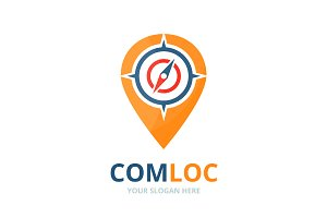 Vector compass and map pointer logo