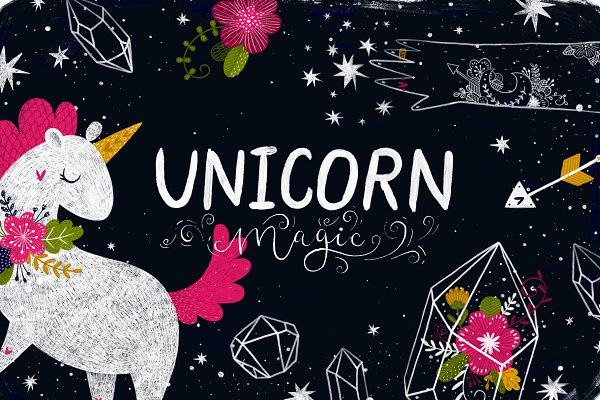 Illustrations and Illustration Products: tatiletters - Unicorn Magic and Flowers