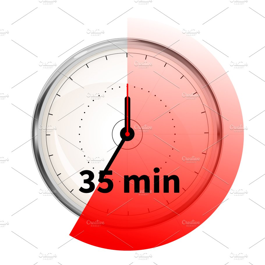 timer with thirty five minutes graphic objects creative market