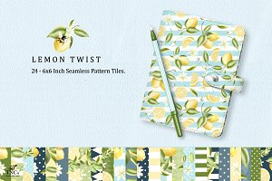 24 Seamless lemon Patterns 6 x 6""