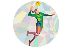Volleyball Player Spiking Ball Jumpi