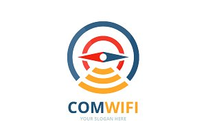 Vector compass and wifi logo