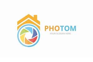 Camera shutter and real estate logo