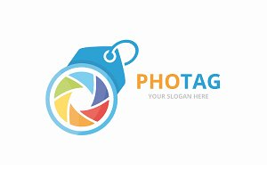 Vector camera shutter and tag logo