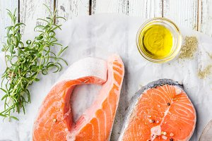 Raw salmon steaks