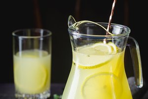 Iced lemonade with lemons