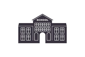 school building retro logo badge