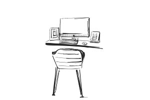 Table with a computer or workplace drawn by hand doodle style. Vector illustration.