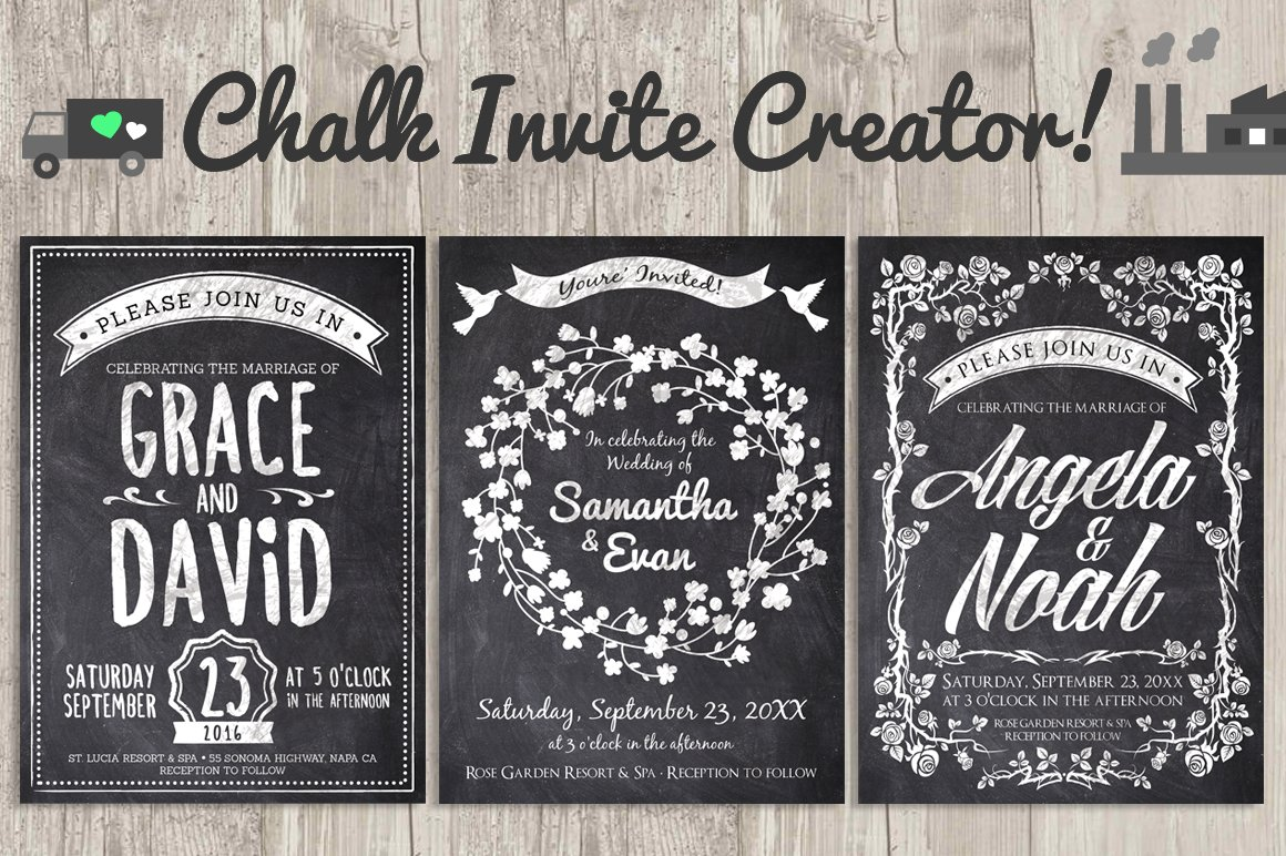 Wedding Invitation Creator Free Online: Chalk Invite Creator Bundle 60% Off