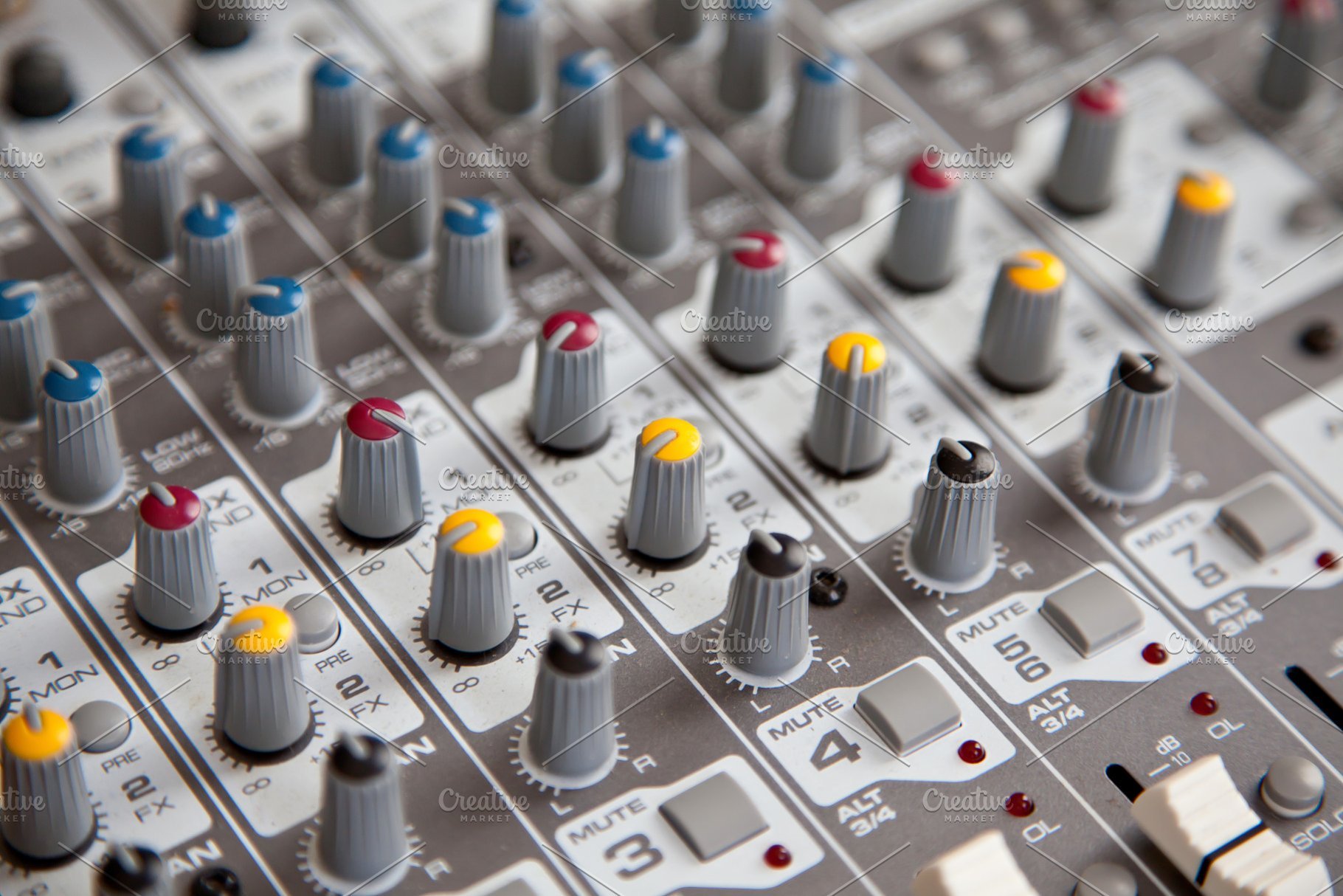Sound mixer sliders faders knobs